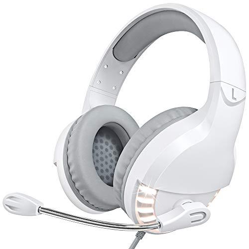 VersionTECH. Bianche Cuffie Gaming per PS4, Cuffie da Gioco per Xbox One, auricolari con microfono trasparente, luci LED per PS4, Xbox 1, PC, Nintendo Switch