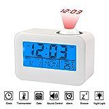 Projektionswecker, LCD-Display Wecker Sprachsteuerung Deckenprojektion mit Temperatur Datum Kalender Snooze für Schlafzimmer Büroküche, Weiß