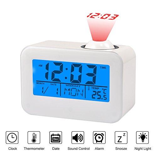 Akozon Projectie Alarm LCD-display wekker spraakbesturing plafondprojectie met temperatuur datum kalender Snooze