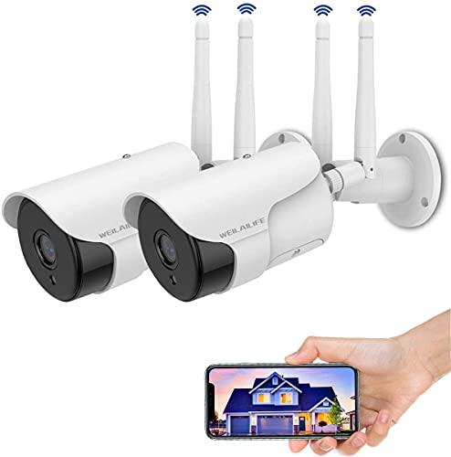 Cámara de seguridad para exteriores de 2 piezas, cámaras para exteriores WiFi inalámbricas impermeables de 2K IP con detección de movimiento de visión nocturna de audio bidireccional