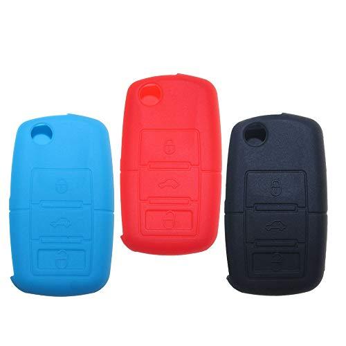 Tuqiang Coque clé de voiture pour VW Golf Passat Jetta Polo Tiguan Flip pliable en silicone 3 boutons Lot de 3 (Noir, Bleu clair, rouge)