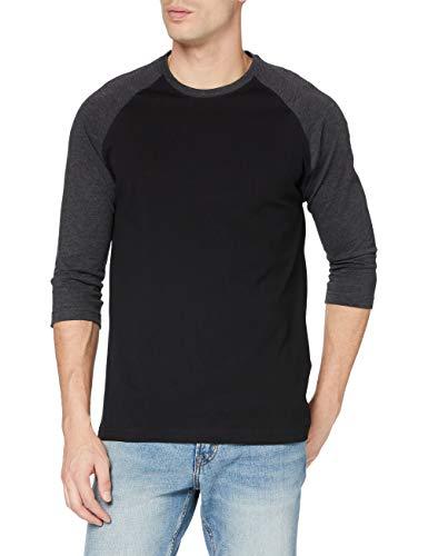 Urban Classics Contrast 3/4 Sleeve Raglan tee Camiseta, Blk/Cha, XXXXXL para Hombre