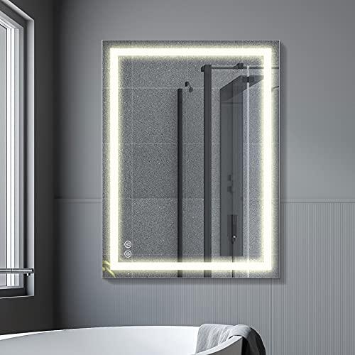 FAUETI - Espejo de baño con iluminación LED, 80 x 60 cm, 4200 K, regulable, espejo de pared con interruptor táctil y sin empañamiento, IP44, bajo consumo