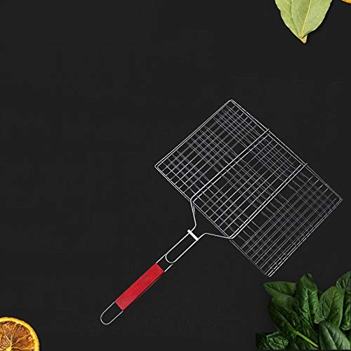 Outdoor Tableware Set FGF Chrome Wire meshes Square mesh sandwiched Wooden Handle Clip Fish BBQ (Color : 603039cm)