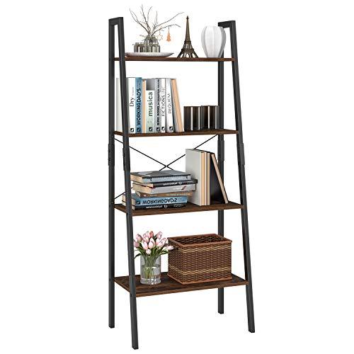 Homfa staande plank ladderplank met 4 verdiepingen boekenplank plantenplank bloemenplank balkonplank badkamerplank van metaal en hout vintage industrieel zwart 138.5x56x34.5cm