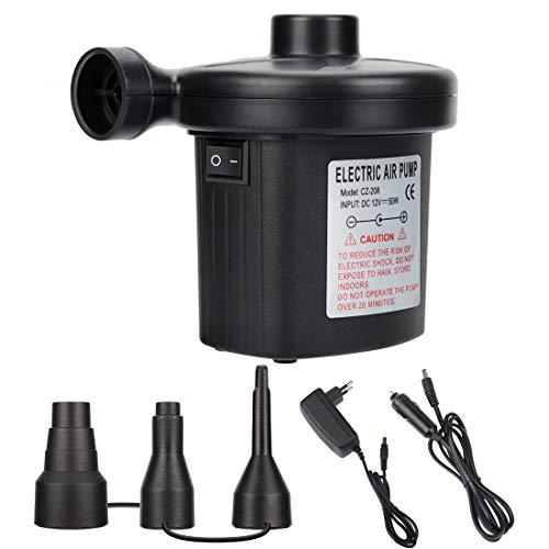 Elektrische Luftpumpe,2 in 1 Luftpumpe für Luftmatratze,Elektropumpe Power Pump mit 3 Luftdüse,für aufblasbare Matratze,Kissen,Bett,Boot,Schwimmring