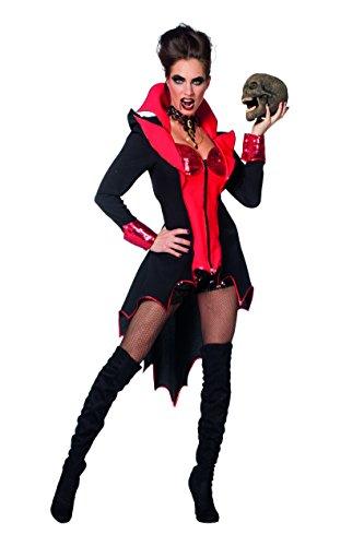 Wilbers 4257 Damenkostüm Sexy Teufel Pailetten Schwarz Rot Kostüm Damen Karneval Fasching Halloween