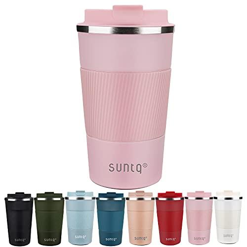 SUNTQ Kaffeebecher to go Thermo aus Edelstahl - Thermobecher mit Gummierte Manschette Doppelwand Isoliert - Kaffeetasse mit Auslaufsicherem Deckel Wiederverwendbar 510ml Rosa