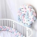 EOVL Bettumrandung Kinderbett Baby Krippe Baby Nestchen Weben Bettumrandung Kantenschutz Kopfschutz für Babybett Bettausstattung Kinderbett Stoßstange 3.5m Länge,White+pink+Blue