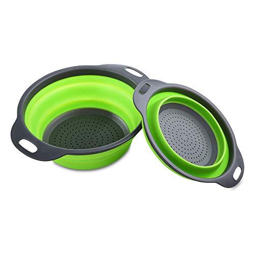 MUXItrade Sieb Klappbar, Faltbare Abtropfsieb, 2 Stück Silikon Sieb Faltbare Seiher Küche Ordnung Nudelsieb (Grün)