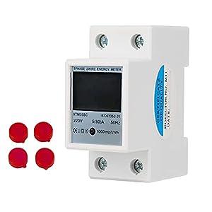 DEWIN Medidor de Consumo Electrico - Medidor Consumo Electrico DIN 220V 5 (80) A Digital monofásico 2 cables 2P medidor eléctrico de carril DIN Medidor electrónico de KWh