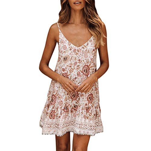MRULIC Damen Boho Festkleid Feiertags Strandkleid Minikleid Damen Floral Gekräuselten V-Ausschnitt Party Sommerkleid A-Linie Kleider Wickelkleid