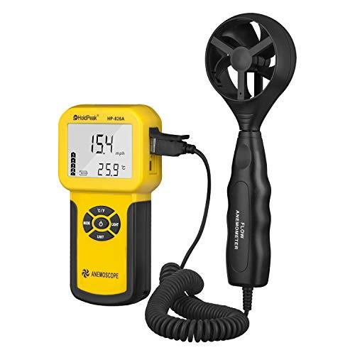 Anemometro Digitale Holdpeak 826A per Misuratore di Velocità / Temperatura del Vento Portatile con Funzione di Registrazione Dati 、 ℃ / ℉ 、 Max / Min / Media / Corrente