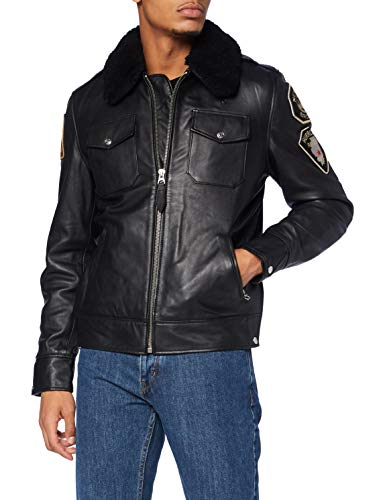 Schott nyc LCPOLICE Leather Jacket, Black, Large Mens