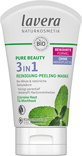 lavera, PURE BEAUTY 3in1 Reinigung Peeling Maske reinigt porentief bekämpft Hautunreinheiten Naturkosmetik vegan 125ml, weiß