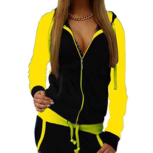 Yying Donna Two Piece Outfit Autunno Donna Moda Tuta da Donna Hooded Coulisse Abbigliamento Donna Tuta Gialla M
