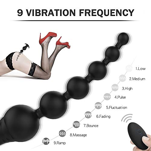 Portable Remote Control 8 Inch Ań-ál Shàkińg Tool Smooth Silicone 9 Modes Vibranting Prostatě Massaging Tool Rechargeable Waterproof Amal Beads Vibranting for Sèx,Self Pleasure Toys,Black,Tshirt
