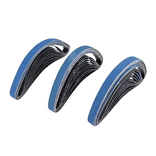 SXYRN 10 Uds 25 x 762 mm Bandas abrasivas de Lijado para lijadora de Banda de Aire Zirconia alúmina para Pulido de Metales Grano de Pulido 60 80120(Grano: 80)