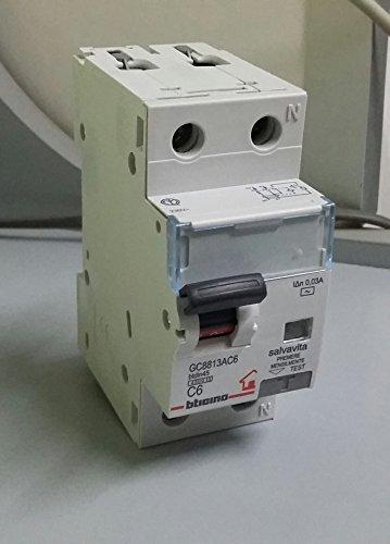Bticino GC8813AC6 Btdin-Rs Interruttore Magnetotermico Differenziale Rcbo Ac 1P+N 6A 4.5Ka 30Ma