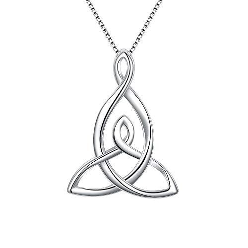 FANZE Celtic Necklace 925 Sterling Silver Good Luck Irish Knot Triquetra Timeless Love Pendant Necklace Jewelry Set Jewelry Set Necklace Dangle Earrings Set