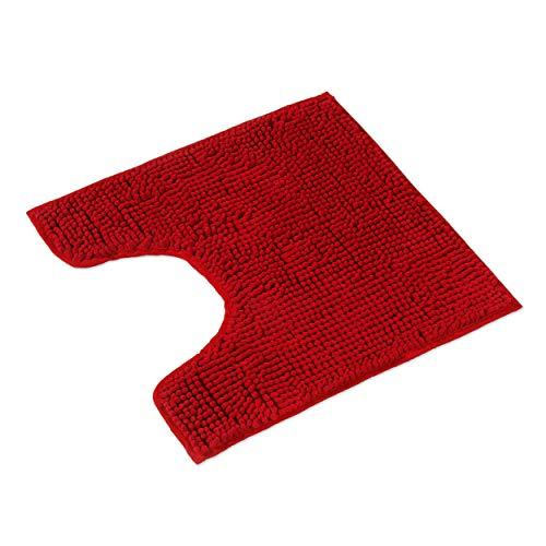 WohnDirect Tapis de Bain Rouge • Sets modulables • Antidérapant, Absorbant et Doux• Découpe WC, 45x45cm