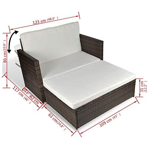 3 in1 Poly Rattan Braun Lounge Gartensofa Gartengarnitur, Rattan-Lounge, Indoor & Outdoor, 2er Garten-Sofa inkl. Kissen & Auflagen,Sofa-Set Garnitur Gartenmöbel Couch-Set - 8