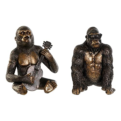 Figura Decorativa DKD Home Decor Resina Gorila (2 pcs) (15.5 x 14 x 23 cm)