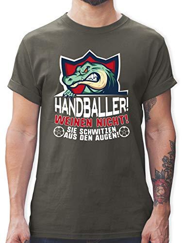 Handball - Handballer weinen Nicht! Sie Schwitzen aus den Augen! - S - Dunkelgrau - Handball Tshirt Herren - L190 - Tshirt Herren und Männer T-Shirts