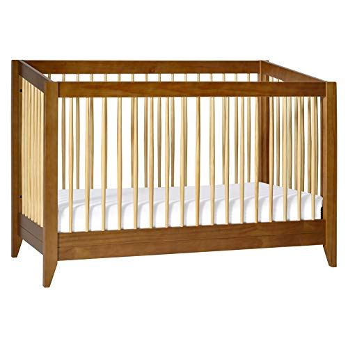 Babyletto Sprout 4-in-1 Convertible Crib with Toddler Bed Conversion Kit in Chestnut and Natural, Greenguard Gold Certified
