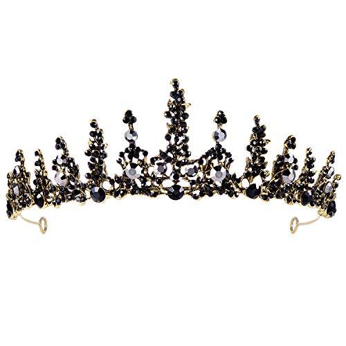 Czemo Tiara de Novia para Mujer Corona Negro Cabello Joyería Rhinestone Diadema...