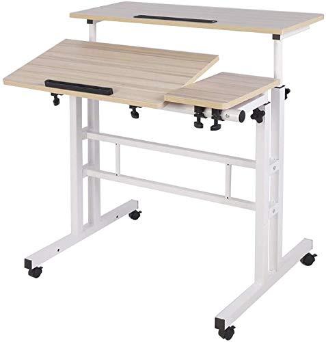 sogesfurniture Mobile Portatile Tavolo Laptop,Tavolino Porta PC con rotelle,Tavolo per Notebook & Laptop,Vassoio per Notebook Regolabile,Bianco,BHEU-101-2MP