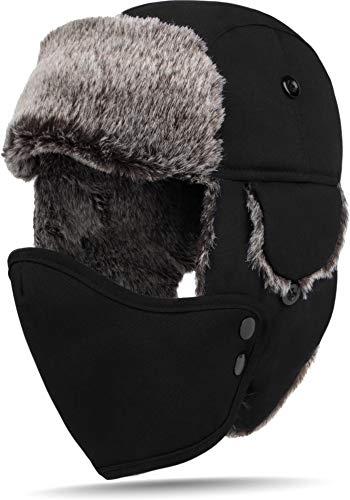 normani Fliegermütze Wintermütze Fellmütze Uschanka Russian Style [M-XL] Farbe Schwarz Größe M