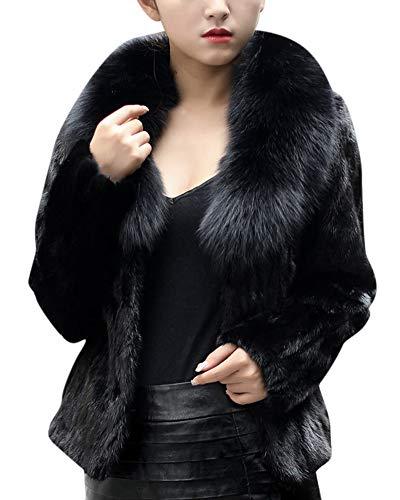Kasen Donna Giacca Elegante Cappotto Manica Lunga Lanuginoso Pelliccia Artificiale Outwear Nero XL