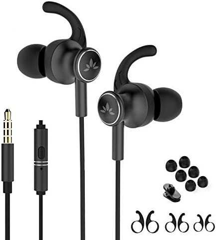 Avantree ME12 Sports Earbuds Wired with Microphone Sweatproof Running Earphones with Earfin product image
