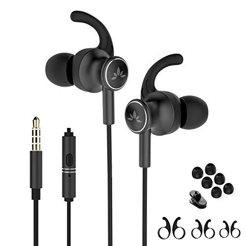 Avantree ME12 AuricularesDeportivos con Micrófono, Auriculares con Cable para Correr con Gancho de Oreja Compatibile con iPhone, Samsung, 3.5mm, Negro