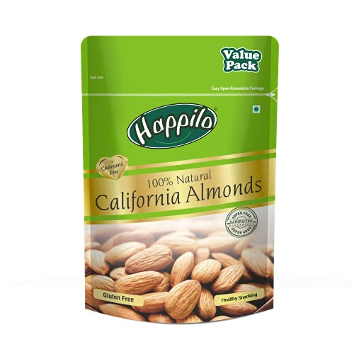 Happilo 100% Natural Premium Californian Almonds Value Pack Pouch,Dried,500g