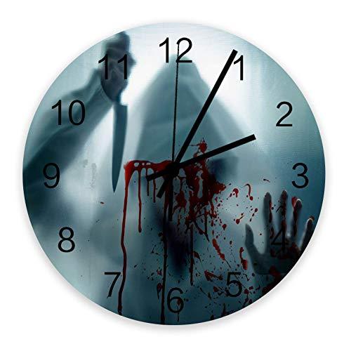 GOSMAO Reloj de Pared Vestido Blanco Hombre con Cuchillo Reloj sin tictac Cuarzo Funciona con Pilas Redondo para Sala de Estar Dormitorios Oficina Cocinas Sala de Clase