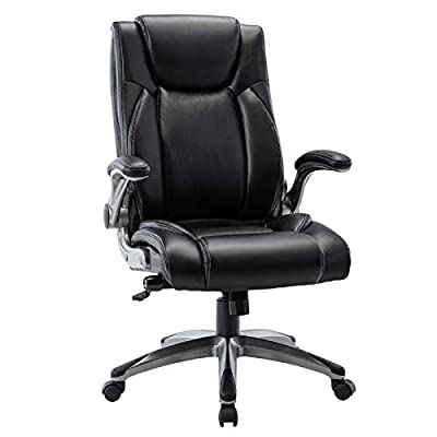 Multifunctional Office Chair, Executive Computer Desk Task Swivel Chair - Adjustable Built in Lumbar Support, Tilt Angle and Flip-Up Arms, Metal Base