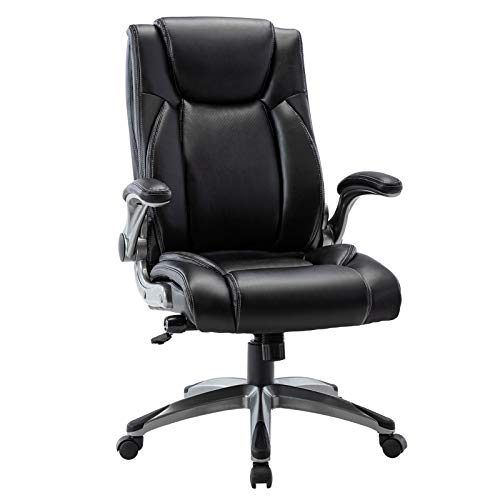 Multifunctional Office Chair, Executive Computer Desk Task Swivel Chair - Adjustable Built-in Lumbar Support, Tilt Tension and Flip-Up Arms, Metal Base
