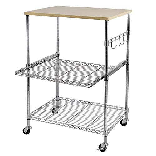 MATHROSE 3-Tier Wire Rolling Kitchen Cart with Locking, Food Service Cart, Microwave Stand, Oak Cutting Board and Chrome