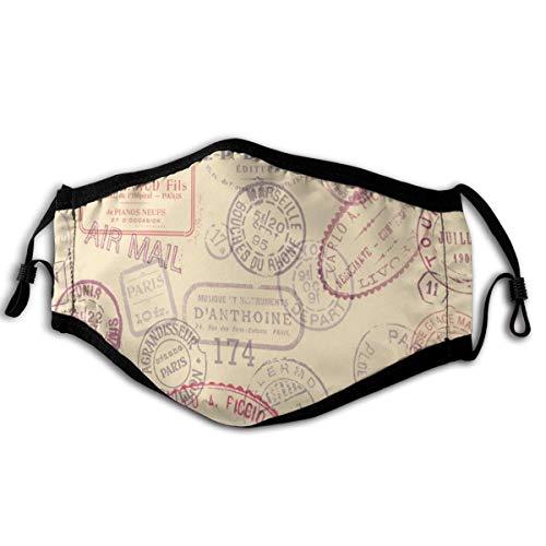 N/A stofmasker met de achtergrond van oude stempels zacht en comfortabel, winddicht en stofdicht, geschikt voor dagelijks gebruik
