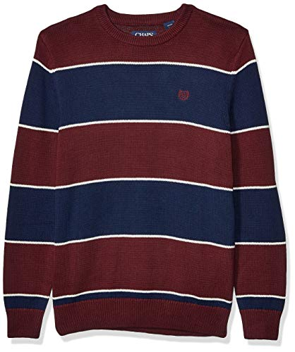 Chaps Men's Classic Fit Cotton Crewneck Sweater, Rich Ruby Multi, M