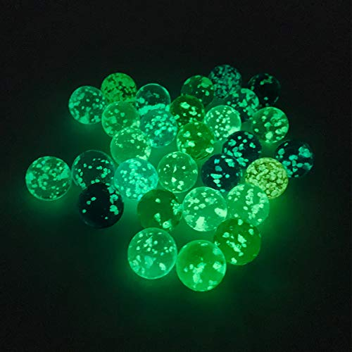 BINRUMI 30 Marbles Glow in The Drak,is A Cool Glass Marbles,Can Be Used with Marble Run for Kids