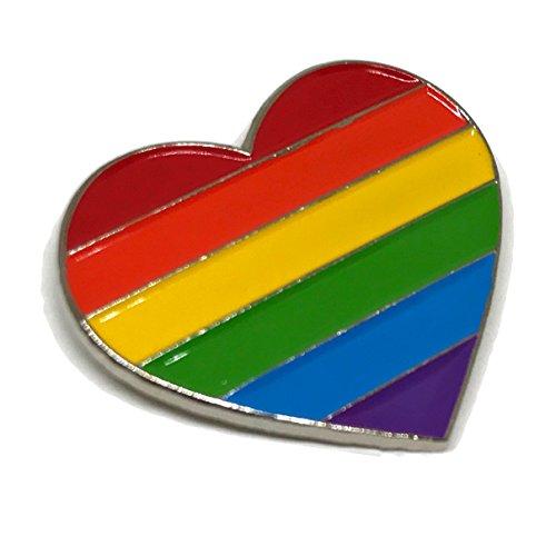 Gay & Lesbian Pride Rainbow LGBT LGBTQ Flag Lapel Pins (Heart Silver)