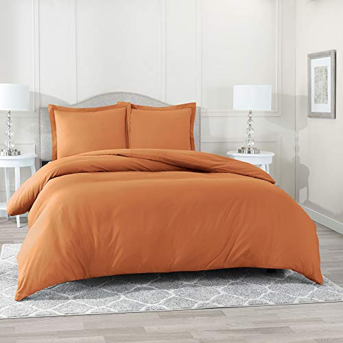 Nestl Bedding Duvet Cover 3 Piece Set – Ultra Soft Double Brushed Microfiber Hotel Collection – Comforter Cover with Button Closure and 2 Pillow Shams, Rust Orange Brown - Queen 90'x90'