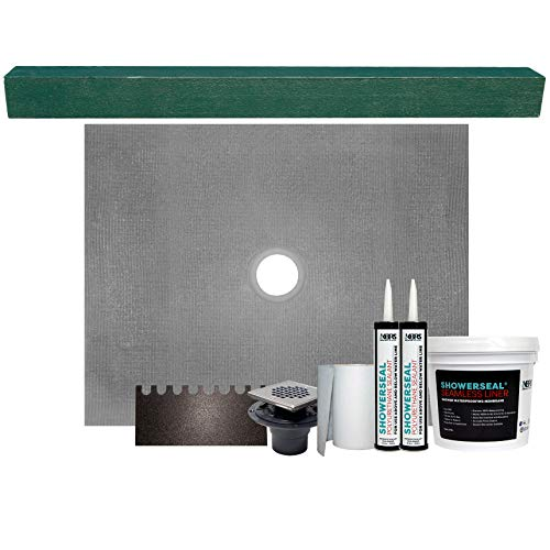 36' x 48' Center Drain Tile Shower Pan Kit | Cut-to-Fit on Site | Includes: Shower Pan, Adjustable 4' x 4' x 61' Shower Curb, Waterproofing Accessory Kit, and Square Stainless Steel Shower Drain