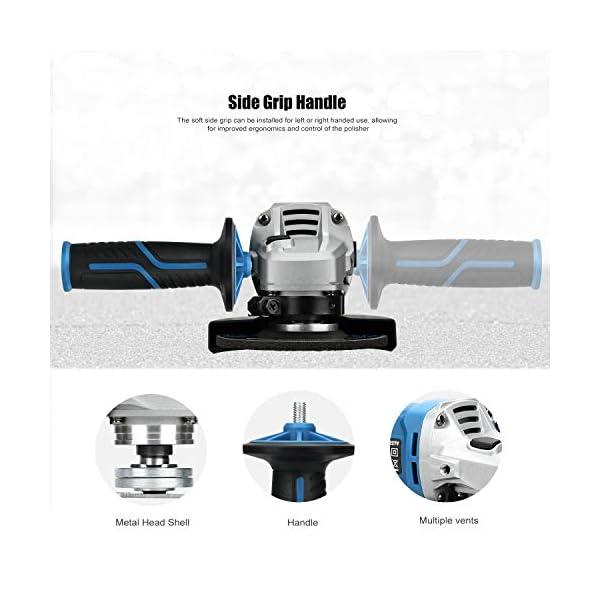 GLAXIA 1000W Amoladora Angular,11000RPM,Mango Auxiliar Regulable, 6 discos Abrasivos con un Diámetro de 115 mm,con llave
