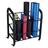 Body-Solid Foam Roller and Yoga Mat Storage Cart (GYR500), Black