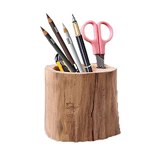 Portalápices, Holder Hecho a mano de madera Titular de la pluma de escritorio Caja de almacenamiento Oficina Titular de la pluma Titular de la pluma de madera Sólido Artesanía de madera Decoración