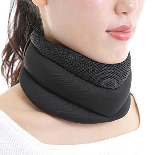 yamasaki ネックサポーター メッシュ ソフト 首 首筋 頸椎 頚椎 サポーター コルセット カラー 黒 (L:首周り32-45cm)